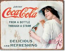 Large Coca Cola Coke Bottle & Straw Vintage Retro Weathered Metal Tin Sign 1473