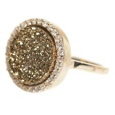 Gold Finish Sterling Silver Brown Druzy Quartz Womens Right Hand Ring (5)