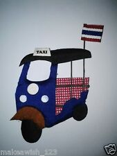 TUKTUK THAI TAXI 3 WHEELS FRIDGE MAGNET THAILAND FLAG BLUE RED SOUVENIR MEMORY