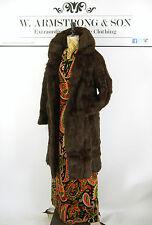 WOMEN'S Marrone Vintage REAL CONEY Pelliccia di Coniglio DIVA GLAM anni'70 lungo cappotto di partito UK L
