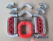 """FOR 2.5"""" 64mm UNIVERSAL RED 8 PIECE ALLOY ALUMINIUM TURBO INTERCOOLER PIPE KIT"""