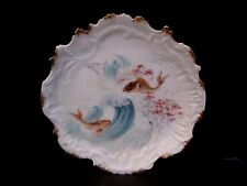 "Antique Hand Painted Antique M&R Limoges Fish Plate. 9"" cabinet. Gold gilded"