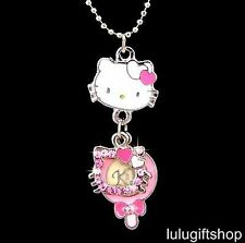 HELLOKITTY CAT PENDANT NECKLACE USE SWAROVSKI CRYSTAL WHITE GOLD PLATED LOVELY