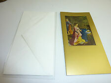 """vintage blank  greetings cards  ARS SACRA Goldcard , maria on child bed"""" #98#"""