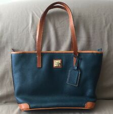 Dooney & Bourke GREEN TAN PEBBLE LEATHER TOTE BAG PURSE