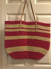 New Merona Target Leather Straw Beach Tote Bag Purse Rose Bright Pink Natural