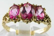 NICE 9K GOLD SHOCKING PINK TOPAZ  3 STONE RING 3.60CT