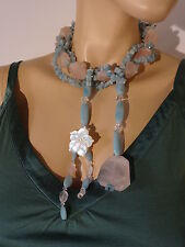 Chunky pink rose quartz + light turquoise natural stones necklace - choker