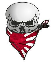 30cm Biker Skull With Face BANDANA & Japan Japanese Rising Sun Flag car sticker