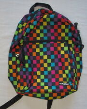 YakPak backpack kids childrens full size back pack rainbow checkered black red