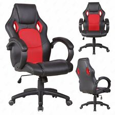 Executive Swivel Red Office Chair Race Car Style Bucket Seat High Back Leather