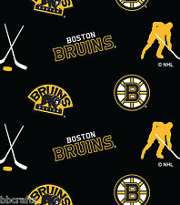 NEW NHL HOCKEY BOSTON BRUINS FLEECE FABRIC BLANKET MATERIAL BY 1/2 YARD CRAFTS