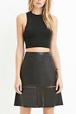 Forever 21 Contemporary Faux Leather Skirt Featuring A Laser Cut Pattern RRP $60