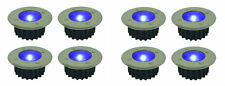 8x BLUE STAINLESS STEEL LED WIRELESS SOLAR POWERED GARDEN DECK/PATH DECK LIGHTS