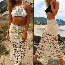 New Women Lady High Waist Crochet Beach Maxi Dress Sexy Party Long Skirt
