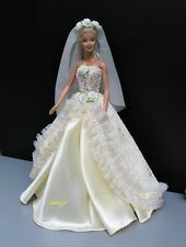"Wedding Gown Party Handmade Costumes for Barbie, Dolls 12"" Dress up Outfit Ivory"