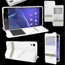 Accessoire Housse Coque Etui S-View Flip Cover Blanc Sony Xperia Z2 D6503