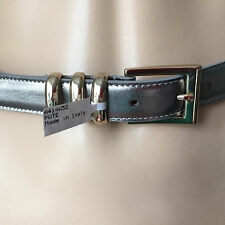 """NEW ST JOHN KNIT WOMENS SZ  M  29"""" TO 34"""" BELT SILVER LEATHER GOLD BUCKLE"""