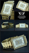 ELONGATED MEN'S WATCH CHEVALIER CAVADINI DESIGNER STAINLESS STEEL IP GOLD PLATED
