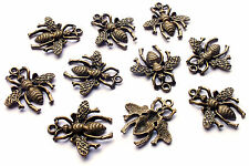 10 x Quality Bronze Tone Bee Charm Pendants, Wasp Flying Insect Gothic Steampunk