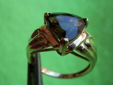 14K Solid Yellow Gold Trillion Cut Smokey Topaz Ring 4.5g Estate