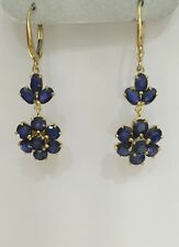 14k Solid Yellow Gold Dangle Leverback Earrings with Natural Sapphire 6.40CT