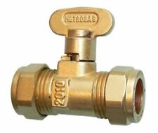 ISOLATION VALVE GAS COCK STOP TAP COMPRESSION FITTING, SIZE: 10mm