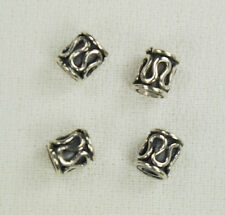 4 Pcs Sterling Silver Bali 5x6mm Tube Beads Drum .925 Spacers Cylinder Bead 2261