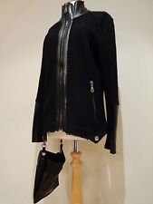 "MICHEL BERANDI WOOL LEATHER QUIRKY PUNK GOTH BLACK  JACKET BAG SZ S 40"" CHEST"