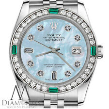 Ladies Rolex 26mm Datejust Blue Mother Of Pearl Dial Emerald with Diamond Watch