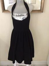 NEW NWT MARC by MARC JACOBS S Black Wool Sequin Halter Dress $428