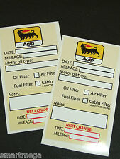 AGIP Oil Change Service Reminder Sticker -  Set of 10 stickers