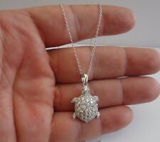 925 STERLING SILVER TURTLE NECKLACE PENDANT W/ 3 CT LAB DIAMOND/ 31MM BY 18MM