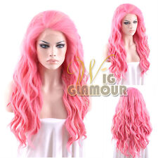 """Long Curly Wavy 24"""" Blonde Mixed Pink Lace Front Wig Heat Resistant"""