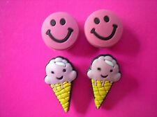 JIBBITZ CROC CLOG SHOE CHARMS BELTS BRACELETS SANDAL 4 ICE CREAM CONE SMILE FACE