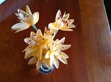 "Vintage Millinery Flower Rich Peach 1"" Lot of 6 for Hat Wedding + Hair Y41"