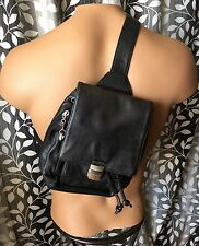 Perlina Single Strap Backpack Sling Pack Bag Soft Black Leather