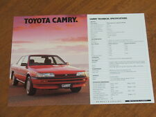 1991 Toyota Camry original Australian double sided specification sheet