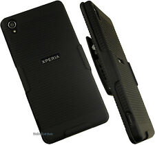 BLACK HARD CASE + BELT CLIP HOLSTER w/ STAND FOR TMOBILE SONY XPERIA Z3 PHONE