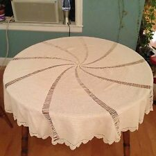 "NEW 58"" Handmade Round Spiral Crochet Tablecloth Ivory Natural Color Sz Large"