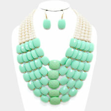 Chunky   Gold/ mint multi strand necklace set fashion jewelry j e 4