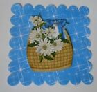 PACK 2 BLUE FLOWER BASKET EMBELLISHMENT TOPPERS FOR CARDS AND CRAFTS