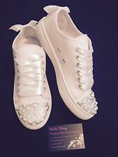 Wedding Converse Style Trainers Bling Crystal Pearls Diamante White 3 4 5 6 7 8