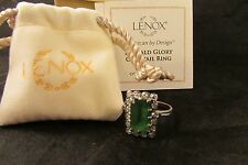 LENOX EMERALD GLORY COCKTAIL RING SIZE 9 LOVELY  JEWELRY