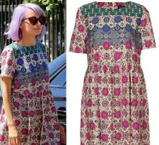 TOPSHOP Paisley Floral Indian Aztec Vtg 60s 70s Festival Smock Folk Dress 12 8 M