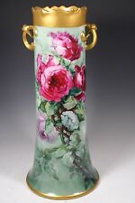 """15"""" Tall LIMOGES PORCELAIN  VASE  HAND PAINTED ROSES"""