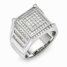 Sterling Silver & Cubic Zirconia Brilliant Embers Men's Ring Size 10 #1397