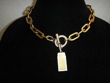 Michael Kors Women Cityscape Chain Crystals Pave Gold Toggle Necklace MKJ4601710