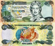 BAHAMAS 50 Cents Banknote World Money Currency Note Caribbean BILL p68 Queen $½