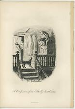 ANTIQUE DOG BARKING MAN ON TOP OF ARMOIR WOMAN CANDLE STAIRS OLD ART PRINT